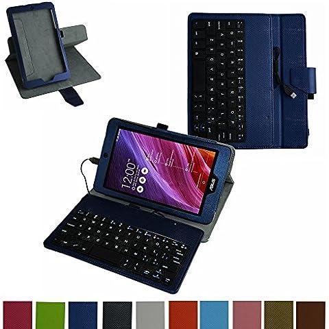 ASUS MeMO Pad 8 ME181C ME181CX micro usb Tastiera Custodia,Mama Mouth rotante Staccabile micro usb Tastiera (layout inglese) custodia in PU di cuoio pelle caso Case per ASUS MeMO Pad 8 ME181C ME181CX Tablet PC,blu scuro