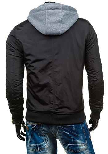 BOLF – Veste á capuche – Fermeture éclair – JOHN RICCI R31 – Homme Noir