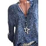 SHOBDW Sommer Herbst Mode Frauen Plus Größe Print Langarm Polka Dot Button Bluse Pullover Tops Chiffon Hemd (XXXXXL, Blau)