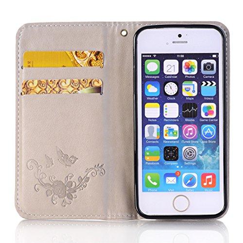 Nancen Apple iPhone 7 / 8 (4,7 Zoll) Handyhülle, Luxus Weiß Prägung Schmetterling und Blume Muster Flip Case PU Leder Tasche Ledertasche Etui Protective Schale Bookstyle Schutzhülle mit Standfunktion Leicht khaki