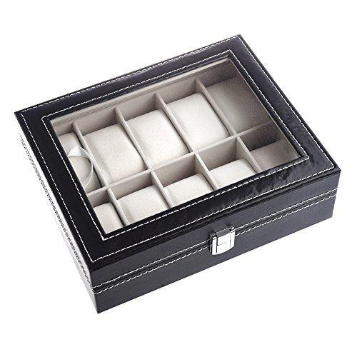 SODIAL-R-Schwarz-weiss-Flanell-10-Raster-Schmuck-Uhren-Serie-Aufbewahrungsbox