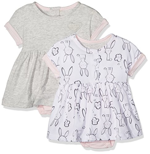 Mothercare Bunny and Grey Romper Dresses - 2 Pack