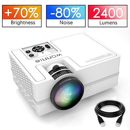 WONNIE LED Video Projector 2400 Lumens Upgrade 2018 Mini Portable HD 1080P Home Cinema Supports Full HD HDMI for PS4 Laptop ipad iPhone Smartphone Game TV Multimedia Home Theater Entertainment white