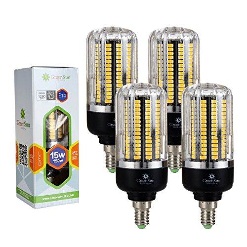 4x GreenSun LED Lighting E14 LED Mais Birne Beleuchtung 15W LEDs Leuchtmittel Warmweiß 2700-3000K Ersatz 80-100W Glühlampe für Garage, Küche, Schlafzimmer, Hängendes Licht, Bad, Wohnzimmer, Esszimmer