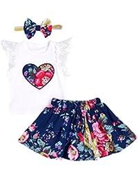 Vestido para Bebés, K-youth® Floral Imprimir Vestido Niña Vestido de Fiesta Sin Manga Princesa Falda Ropa de bebe niña verano 2018 Vestir