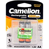 Camelion 17025206 Akku (NiMH, R6, Mignon, AA, 2500 mAh, 2er, inkl. Aufbewahrungsbox geeignet für 4 x Akkus)
