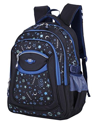 Schulrucksack, Coofit Schultasche Schulranzen Vintage Blumen Sportrucksack für Mädchen Jungen Jugendliche Coofit Blau