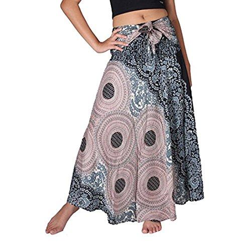 Yanhoo Frauen Lange Hippie Bohemian Gypsy Boho Blumen Elastischen Floral Hlater Rock Zwei Verschleiß Taille Halb Rock&Hlater Rock Komisch Individualität Design (S, Schwarz) (Indische Hippie Kostüm)