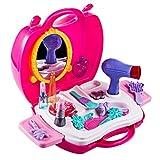 YAKOK Rose Maquillage Enfant Fille Jouet, Beaute Enfant Jouet, Cosmetique Jouet Seche Cheveux Enfant, Jeux Imitations Enfants pour Fille Bébé 2-6 Ans