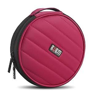 BUBM - porta CD rotondo, per 32CD, portatile, resistente, per CD e DVD, per macchina, casa, ufficio e viaggi rosso Red