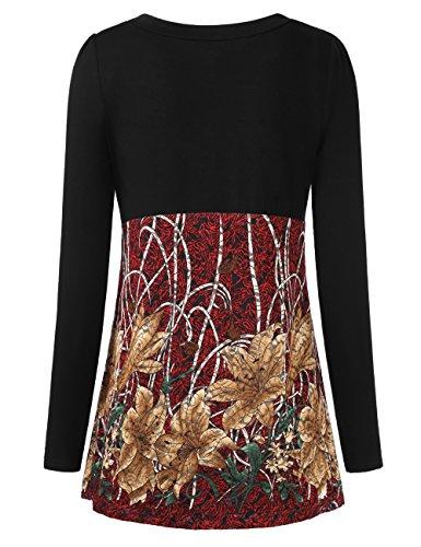 BaiShengGT Femmes T-Shirt 2 en 1 Faux Twin-Set Haut Top Manches Longues Noir-Rouge