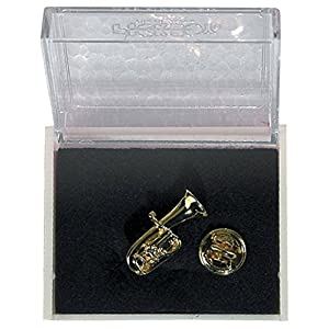 GEWA Unisex-Brosche Anstecknadel Tuba, goldfarbig – 980041