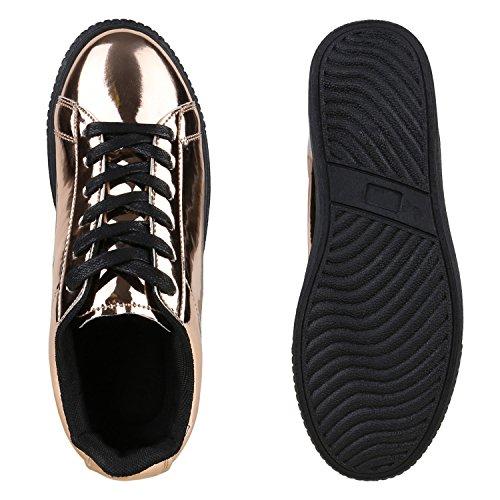 wholesale dealer e0e33 5431b Plateau Sneakers Damen Sneaker Low Glitzer Metallic Schuhe ...