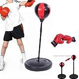 Blackpoolal Sac De Frappe Enfants Punching Ball Réglable en Hauteur 72-108cm avec Gants De Boxe Et Pompe pour Entraînement De Boxe