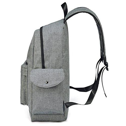FZHLY Semplice Canvas Shoulder Bag Solido Colori Di Grandi Dimensioni Backpack,Black Grey