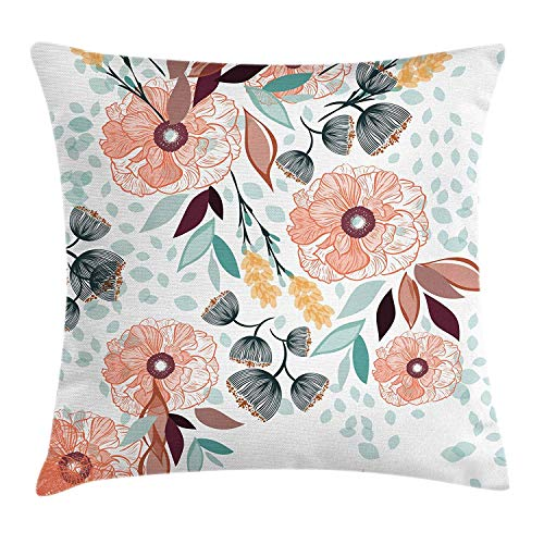 Floral Throw Pillow Cushion Cover, Pastel Color Beauty Petals Leaves Shabby Essence of Nature Garden Bluebells Pattern, Decorative Square Accent Pillow Case, 18 X 18 inches, Multicolor