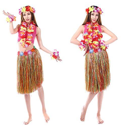 Imagen de anself  set de vestido hawaiano de disfraces de fiesta falda de hula 60cm+2 pulsera de flores+anillo cuello+guirnalda  yxcq 5pcs  alternativa