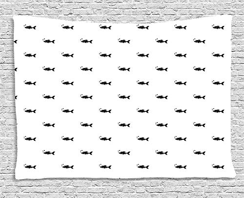 daawqee Aquarium Tapestry Cute Little Black Fish Figures on White Backdrop Bubbles Underwater Life Theme for Living Room Bedroom Dorm 80 W X 60 L Inches Unique Home Decor