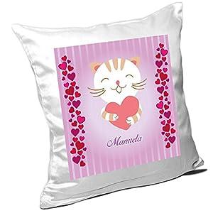 Kissen mit Namen Manuela und süßem Katzen-Motiv für Mädchen - Namenskissen personalisiert - Kuschelkissen - Schmusekissen