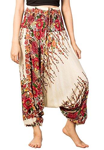 Lofbaz Damen Blumen Gedruckt Kittel Taille 2 in 1 Overall Hose Ivory L