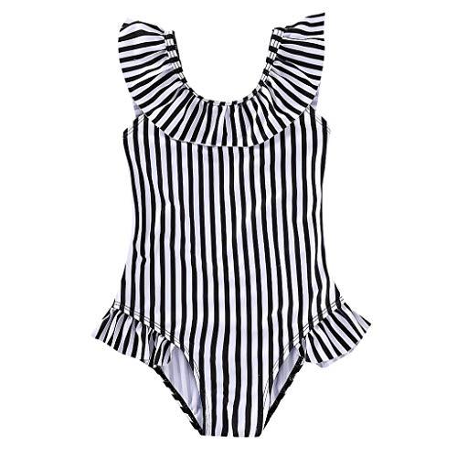 DressLksnf Kinder Mädchen Rüsche gestreifte Badebekleidung Baby Bikini Badeanzug Babypflege Badeanzug Beachwear (Kostüme Teenager-mädchen Für Holloween)