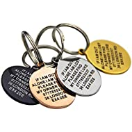 Premium Engraved Personalised Pet Dog Cat Puppy Name ID Bone Round Tag Collar (Silver, Black, Gold & Rose Gold in Round and Bone shape)