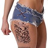 2 x MÄNNER TATTOO SCHWARZ Arm Oberarm Tattoo Aufkleber Life is Game Totenkopf HB049 (2)