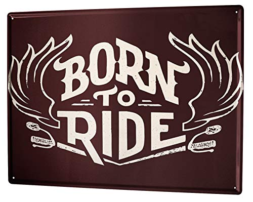 Cartel Letrero de Chapa Motos Garaje Nacido para viajar