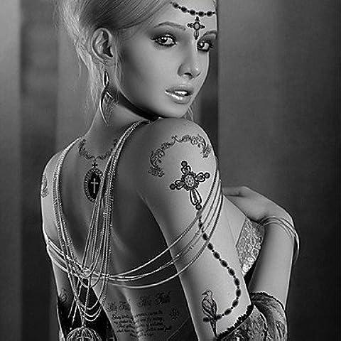 HJLWST® moda grossa tatuaggi temporanei croce collana sexy body art impermeabili adesivi tatuaggio 2pcs (dimensioni: 5.71 '' di 8.27