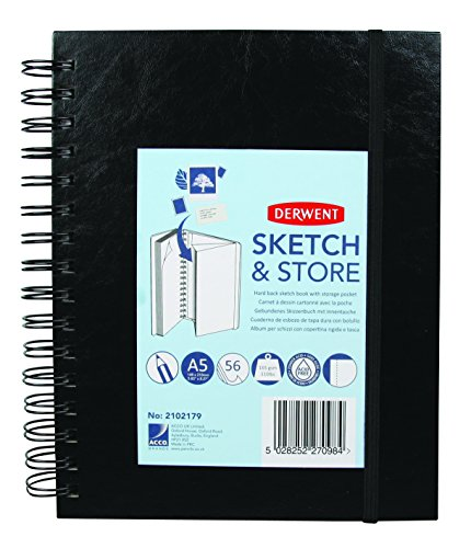 Derwent - Cuaderno de dibujo (A3 horizontal, 165g/m², 56hojas) A5 (vertical)