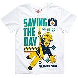 Feuerwehrmann Sam Kollektion 2017 T-Shirt 98 104 110 116 122 128 134 140 Shirt Fireman Sam Jungen Neu Top Weiß (104 - 110)
