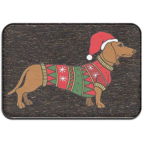 Novelcustom Fußabstreifer,Willkommen Eingang Fußmatten Dackel tragen Weihnachten Kostüm Fußmatte für Indoor Outdoor, rutschfest 40x60 cm (Einfach Dackel Kostüm)