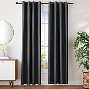 AmazonBasics Room-Darkening Blackout Curtain Set with Grommets - 228 x 117 cm, Black