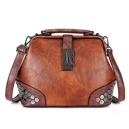Mn&Sue Damen Handtasche Gothic Nieten Vintage Doctor Style Cross Body Cabrio Eimer Schultertasche, Braun (braun), Einheitsgröße -