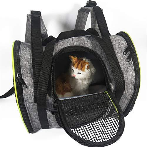 BulzEU - Haustier-Tragetasche, weich, mittelgroß, tragbar, für Hunde und Katzen, faltbar, Netzstoff, für Outdoor-Reisen, leicht -