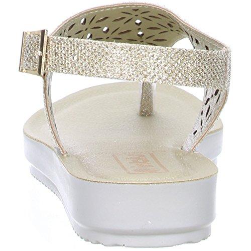 inblu Damen Zehentrenner Sandaletten Glitzeroptik platin/gold Gold (Platin)