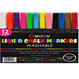 Liquid Chalk Window Markers, 12 Colored, Neon, Safe & Easy to Use, Non-Toxic, Great For All Ages, By Creatov