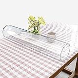 LE Transparente PVC-Tischmatte Weiche Tischdecke Wasserdicht Anti-heiß Öl-Beweis Matt Kristallplatte Tischset Kaffee Tischdecke 1,5 mm Dick,Clear_80*160cm