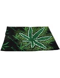 Bandana Head Scarf Rasta Bob Marley Cannabis Leaf 100% Cotton Mens in Black and Green