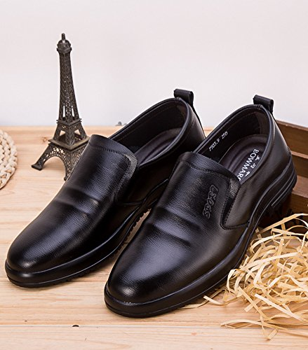 Anlarach Hommes Mocassins En Cuir Plat Chaussures à Lacets Noir