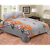 EIN SOF 100% Cotton Double Bedsheet (90x100 Inches) With 2 Pillow Covers Combo Set, Double Bed, King Size Cotton Bed Sheet,3D Printed Technology, Floral Collection,150 TC, Grey Flower