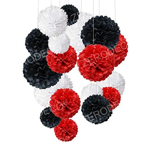 ZERODECO 18 Stück Schwarz, Rot und Weiß Seidenpapier Pompoms Blumen Ball Dekorpapier Kit für Geburtstag Hochzeit Baby Dusche Parteien Hauptdekorationen und Partei Dekoration (Schwarz Pom Weiß Geburtstag Pom)