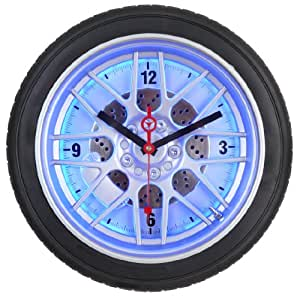 Maple's 14-Inch Tire Wall Clock, Blue LED