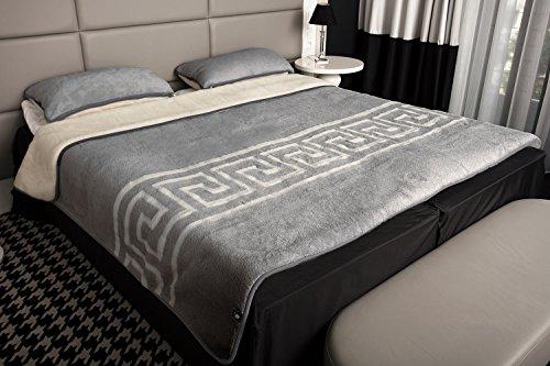 Kombi-Set Bettdecke mit 2 Kissen reine Merino-Schafschurwolle Naturprodukt 155x200 Grau-Creme