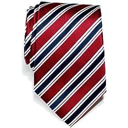 Retreez Corbata de microfibra con estampado a rayas elegante para hombres Rojo burdeos y azul marino