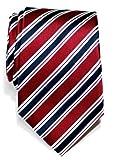 Corbata de microfibra con estampado a rayas elegante para hombres de Retreez - Rojo burdeos y azul...