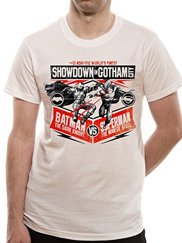 Batman Vs Superman Showdown in Gotham T-shirt (Bianco) Black S