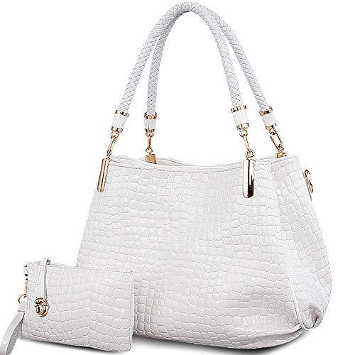 WU ZHI Italienische Handtasche Krokoprägung Lackleder Umhängetasche Damen Schultertasche Vera Pelle Handtaschen,White-L