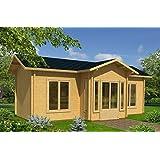 Wochenendhaus Prunus P7 inkl. Fußboden, naturbelassen - 70 mm Blockbohlenhaus, Grundfläche: 26,70 m², Satteldach