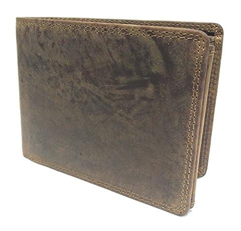 Trifold - Herren Echt Leder Geldbörse Geldbeutel Portemonnaie, Vintage